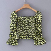 Fashion wild elastic square collar puff - Košulje - kratke - $25.99  ~ 165,10kn