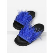 Faux Fur Detail Slip On Sandals - Sandals - $16.00