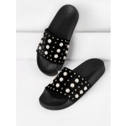 Faux Pearl Embellished Slip On Sandals - Sandals - $27.00