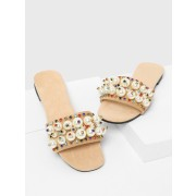 Faux Pearl Flat Slides - Sandals - $37.00