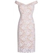 Fazadess Off Shoulder Floral Lace Bodycon Cocktail Party Dress for Women - Dresses - $36.99