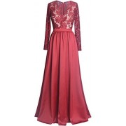 Fazadess Women's 30s Brief Lace Elegant Red Wedding Bridesmaid Evening Dress - Dresses - $47.99
