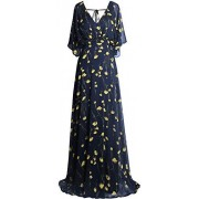 Fazadess Women's Floral Chiffon V Neck Poet Sleeve Backless Long Dress - Dresses - $66.99