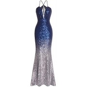 Fazadess Women's Gold Sequins Slit Mermaid Long Prom Dresses - Shirts - $49.99