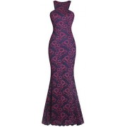 Fazadess Women's Vintage Floral Lace Sleeveless Cocktail Formal Long Dress - Dresses - $65.99