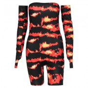 Finger-in, long-sleeved, off-sleeve, flame-print, chest-wrapped jumpsuit - Shirts - $19.99