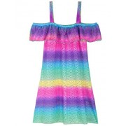 Firpearl Girl's Swimsuit Cover Up Dress Off Shoulder Crochet Mesh Ruffle Beach Swimwear - Dresses - $15.99