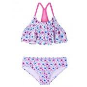 Firpearl Girl's Two Piece Swimsuit Floral Bikini Set Flounce Bathing Suit - Swimsuit - $29.99