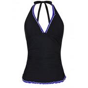 Firpearl Women's Tankini Swimsuits Top V Neck Halter Swimwear Ruffle Swim Top - Swimsuit - $16.99