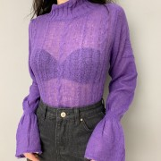 Flared Sleeve Half Turtleneck Sweater - Shirts - $25.99