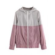 Floerns Women's Color Block Hooded Casual Thin Windbreaker Jacket - Jacket - coats - $19.99