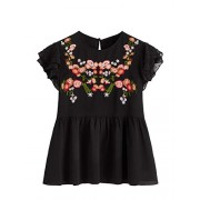 Floerns Women's Floral Embroidered Ruffle Sleeve Peplum Blouse Top - Shirts - $16.99