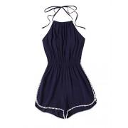 Floerns Women's Halter Neck Lace Trim Backless Summer Romper - Top - $18.99