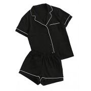 Floerns Women's Notch Collar Shorts Loose Sleepwear Two Piece Pajama Set - Underwear - $21.99
