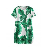 Floerns Women's Palm Leaf Print Short Sleeve Summer Dress - Dresses - $15.99