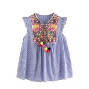Floerns Women's Sleeveless Ruffle Striped Embroidered Pom Pom Tie Neck Blouse - Top - $19.99