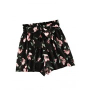 Floerns Women's Tie Bow Floral Print Summer Beach Elastic Shorts - Shorts - $16.99