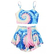 Floerns Women's Tie Dye Sleeveless Crop Top and Shorts Two Piece Outfits - Top - $16.99