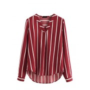 Floerns Women's V Neck Long Sleeve Striped Chiffon Blouse Top - Top - $16.99