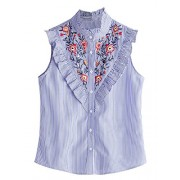 Floerns Women's Vertical Striped Ruffle Floral Embroidery Blouse Shirts - Shirts - $18.99