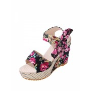 Floral Embellished Bow Tie Wedge Sandals - Sandals - $11.00