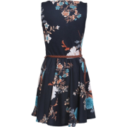 Floral Pleated Dress in Black  - Dresses - £14.99
