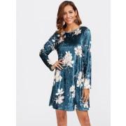 Floral Velvet Dress - Haljine - $24.00  ~ 20.61€