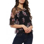 Floral Mesh Tiered Sleeve Top - Top - $16.97