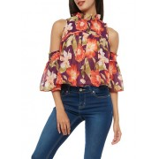 Floral Smocked Cold Shoulder Top - Top - $14.99