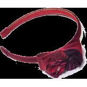 Floral-appliquéd Bow Headband - Hat - $48.50