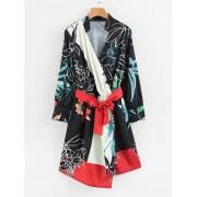 Florals Belted Wrap Dress - Dresses - $25.00