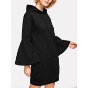 Flounce Sleeve Hoodie Dress - Dresses - $16.00