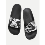 Flower Print Flat Sliders - Sandals - $24.00