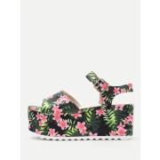 Flower Print Platform Wedge Sandals - Wedges - $23.00