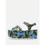 Flower Print Platform Wedge Sandals - Wedges - $20.00