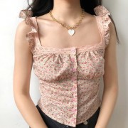 Flower buckle cute floral lace square collar flying sleeve ruffled vest camisole - Koszule - krótkie - $27.99  ~ 24.04€