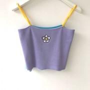 Flower embroidery summer cool small fresh knit suspenders - Košulje - kratke - $19.99  ~ 17.17€