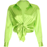 Fluorescent green satin knotted shirt - Shirts - $27.99