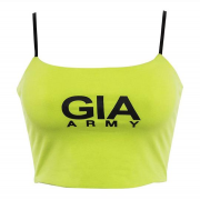 Fluorescent halter low-cut camisole top - T-shirts - $17.99