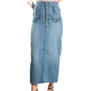 Four Button High Waist Stretch Denim Ankle Length Skirt with Side Slits - Clearance Sale ! Medium blue - Skirts - $20.00