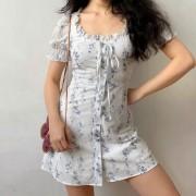 French U-neck vintage elegant dress with ruffled floral short-sleeved dress - Kleider - $35.99  ~ 30.91€