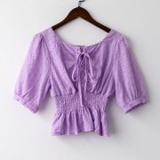 French lace shirt female 2020 summer new Korean version of the bandage waist coa - Košulje - kratke - $19.99  ~ 17.17€