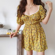 French low-necked yellow floral dress with waist puff sleeve skirt - Платья - $26.99  ~ 23.18€