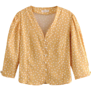 French retro yellow wave pearl buckle lo - Long sleeves shirts - $27.99