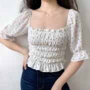 French square collar fresh floral lantern sleeve sleeve chiffon ruffled top - Shirts - $27.99
