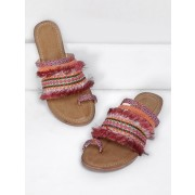 Fringe Trim Toe Ring Flat Sandals - Sandals - $27.00