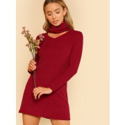 Front Cutout Turtleneck Dress - sukienki - $13.00  ~ 11.17€