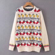 Fruit pattern jacquard sweater - Pullovers - $35.99