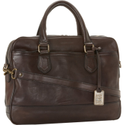 Frye James Work Zip Tumbled Full Grain DB116 Briefcase Dark Brown - Hand bag - $598.00