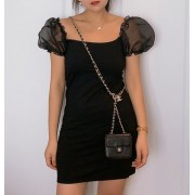 Fungus organza short sleeves slim temperament cold black skirt - sukienki - $26.99  ~ 23.18€